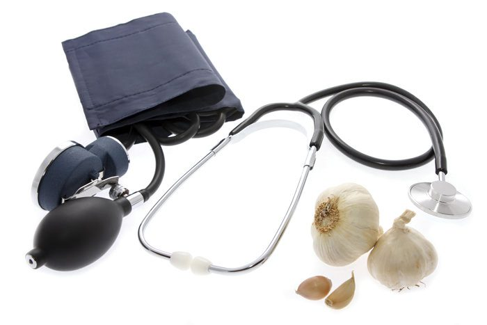 Blood pressure gauge and a pair of garlic,it is useful for health